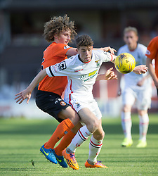 Dundee United&rsquo;s Aaron Kuhl and Inverness Caledonian Thistle's Miles Storey.<br /> Half time : Dundee United 1 v 0 Inverness Caledonian Thistle, SPFL Ladbrokes Premiership game played 19/9/2015 at Tannadice.