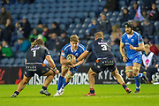 Matthew Screech (#5) of Dragons Rugby looks to run between Pierre Schoeman (#1) and Pietro Ceccarelli (#3) of Edinburgh Rugby during the Guinness Pro 14 2018_19 match between Edinburgh Rugby and Dragons Rugby at BT Murrayfield Stadium, Edinburgh, Scotland on 15 February 2019.