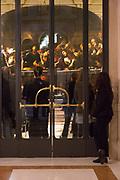 L'Ultimo Caravaggio, eredi e nuovi maestri (Last Caravaggio, Heirs and new Masters) exhibition at Gallerie d'Italia, Intesa Sanpaolo Museum, in Milan on November 30, 2017. In the background Ultima cena, oil on canvas, by Giulio Cesare Procaccini. © Carlo Cerchioli