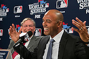 10/24/13 — BOSTON — Former Yankees closer Mariano Rivera laughs during the presentation of the Commissioner's Historic Achievement Award before Game 2 of the World Series at Fenway Park on Oct. 24, 2013.
