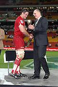 Reds Chairman Rod McCall with Reds captain James Horwill. Queensland Reds v NSW Waratahs. Investec Super Rugby Round 10 Match, 24 April 2011. Suncorp Stadium, Brisbane, Australia. Reds won 19-15. Photo: Clay Cross / photosport.co.nz
