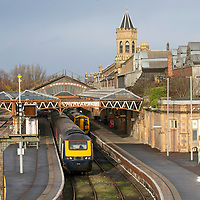 A Scotrail High Speed 125 train pictured at Perth Railway Station…<br />Picture by Graeme Hart.<br />Copyright Perthshire Picture Agency<br />Tel: 01738 623350  Mobile: 07990 594431