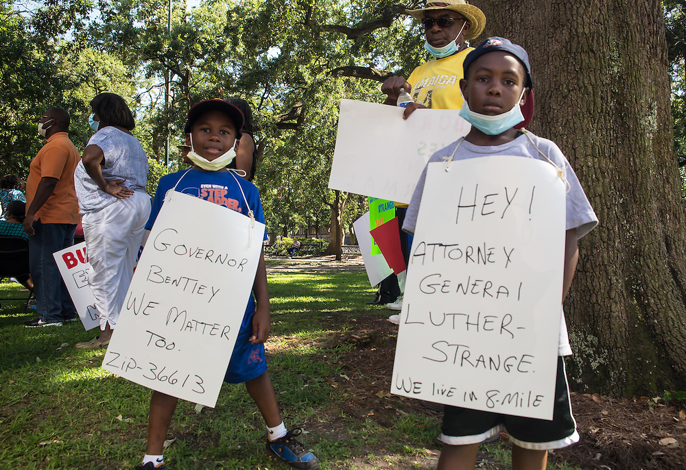 Rally before a protest march in downtown Mobile, held  in order to bring attention to the situation in Eight Mile, Alabama. ©2016