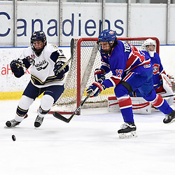 TORONTO, ON  - OCT 29,  2017: Ontario Junior Hockey League game between the Toronto Jr. Canadiens and the Toronto Patriots, Dante Spagnuolo #15 of the Toronto Patriots and Artur Terchiyev #17 of the Toronto Jr. Canadiens pursue the play during the first period.<br /> (Photo by Andy Corneau / OJHL Images)