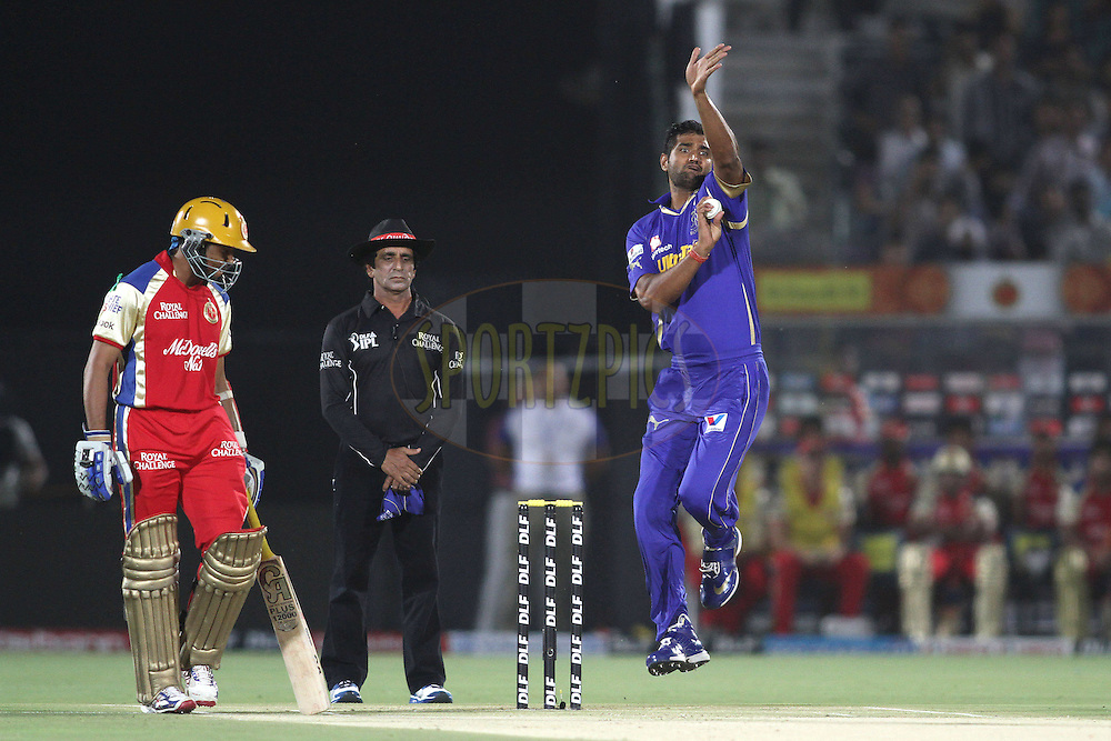 Pankaj Singh of the Rajasthan Royals sends down a delivery during match 30 of the the Indian Premier League (IPL) 2012  between The Rajasthan Royals and the Royal Challengers Bangalore held at the Sawai Mansingh Stadium in Jaipur on the 23rd April 2012..Photo by Shaun Roy/IPL/SPORTZPICS