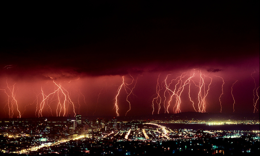 Lightning over San Francisco, California
