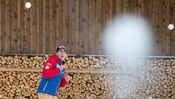 02.01.2015, for Friends, Mösern, AUT, FIS Ski Sprung Weltcup, 63. Vierschanzentournee, OeSV Pressekonferenz, im Bild Stefan Kraft (AUT) bei einer Schneeballschlacht // Stefan Kraft of Austria on a snowball fight before Pressconference of Austrian Team of the 63rd Four Hills Tournament of FIS Ski Jumping World Cup at the for Friends Hotel, Mösern, Austria on 2015/01/02. EXPA Pictures © 2015, PhotoCredit: EXPA/ JFK