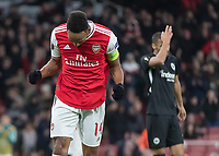 Football - 2019 / 2020 UEFA Europa League - Group F:Arsenal vs. Eintracht Frankfurt<br /> <br /> Pierre-Emerick Aubameyang (Arsenal FC) celebrates after giving Arsenal the lead just before half time at The Emirates.<br /> <br /> COLORSPORT/DANIEL BEARHAM