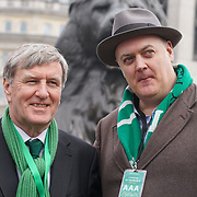 Dan Mulhall, Irish Ambassador and Dara O'Briain, attends the London's St Patrick's in Trafalgar square on 19th March 2017. by See Li