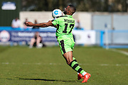 Forest Green Rovers Dan Wishart(17) controls the ball during the Vanarama National League match between Guiseley  and Forest Green Rovers at Nethermoor Park, Guiseley, United Kingdom on 8 April 2017. Photo by Shane Healey.