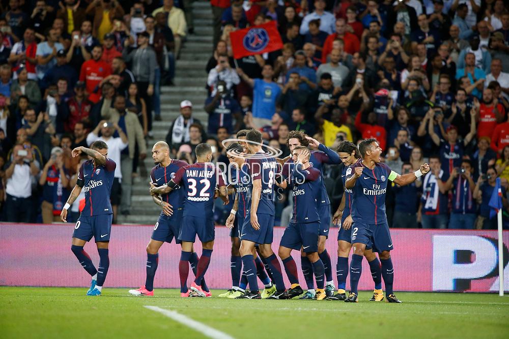 Adrien Rabiot (psg) scored a goal and celebrated it with Neymar da Silva Santos Junior - Neymar Jr (PSG), Angel Di Maria (psg), Edinson Roberto Paulo Cavani Gomez (psg) (El Matador) (El Botija) (Florestan), Thiago Silva (PSG), Thiago Motta Santon Olivares (psg), Presnel Kimpembe (PSG), Layvin Kurzawa (psg), Daniel Alves da Silva (PSG) during the French championship L1 football match between Paris Saint-Germain (PSG) and Toulouse Football Club, on August 20, 2017, at Parc des Princes, in Paris, France - Photo Stephane Allaman / ProSportsImages / DPPI