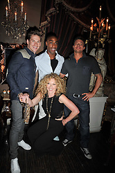Left to right, LEE RYAN, DUNCAN JAMES, SIMON WEBBE and KELLY HOPPENat a party to celebrate the publication of her new book - Kelly Hoppen: Ideas, held at Beach Blanket Babylon, 45 Ledbury Road, London W11 on 4th April 2011.