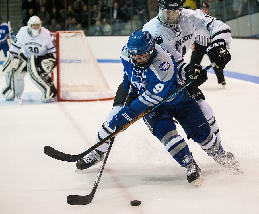 Colby College Forward E.J. Rauseo  (9) during a NCAA Division III hockey game between Colby College and Bowdoin College on December 5, 2015 at Sidney J. Watson Arena on the campus of Bowdoin College in Brunswick, ME.  (Dustin Satloff)