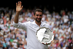 File photo dated 16-07-2017 of Marin Cilic with his runners up trophy