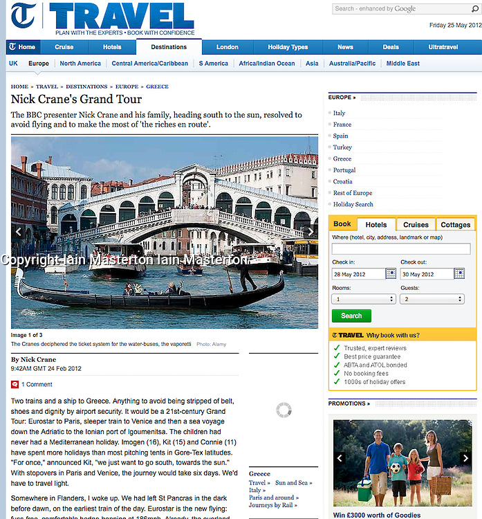 Tearsheet from The Telegraph; View of Grand Canal in Venice