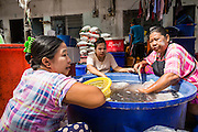 20 JUNE 2014 - SAMUT SAKHON, SAMUT SAKHON, THAILAND: Burmese women process seafood in front of the tenement building in Samut Sakhon. Hundreds of thousands of migrant workers from Myanmar work in the Thai fishing industry. Samut Sakhon, (sometimes still called Mahachai, its historical name) is a large fishing port. Many Burmese live in the town and work in the fish process plants. Although hundreds of thousands of Cambodians fled Thailand last week after the military coup, the Burmese workers have stayed and are still working in many Thai towns.    PHOTO BY JACK KURTZ