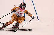 Third overall in the girls slalom individual competition, Jaclyn Battjes of East Grand Rapids makes her first of two giant slalom runs at Boyne Highlands Resort in Harbor Springs at the Division 2 State Ski Finals.