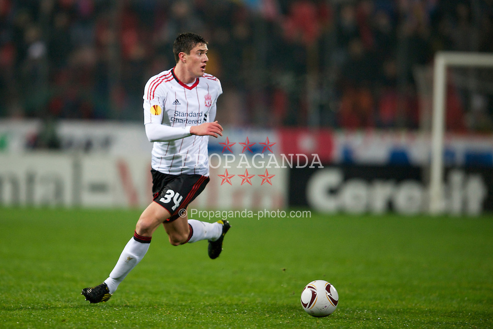 BUCHAREST, ROMANIA - Thursday, December 2, 2010: Liverpool's Martin Kelly in action against FC Steaua Bucuresti during the UEFA Europa League Group K match at the Stadionul Steaua. (Pic by: David Rawcliffe/Propaganda)