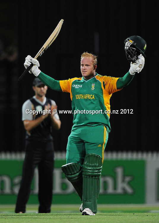 South Africa's Richard Levi celebrates his record breaking century during the 2nd InternationaI Twenty20 cricket match between New Zealand Black Caps and South Africa at Seddon Park, Hamilton, New Zealand on Sunday 19 February 2012. Photo: Andrew Cornaga/Photosport.co.nz
