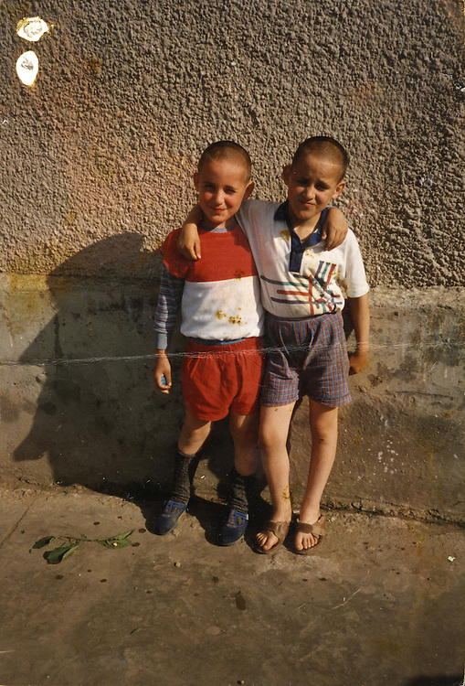 Monica and her sister Rodiaca in 1995 when they were 8 at the Popricani orphanage where they grew up