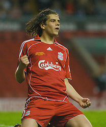 LIVERPOOL, ENGLAND - Wednesday, May 7, 2008: Liverpool's Jordy Brouwer celebrates scoring the second goal against Aston Villa during the play-off final of the FA Premier League Reserve League at Anfield. (Photo by David Tickle/Propaganda)