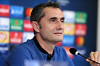 Ernesto Valverde, head coach of Fc Barcelona  during the Fc Barcelona press conference on the eve of the UEFA Champions League football match between Juventus FC and Fc Barcelona.