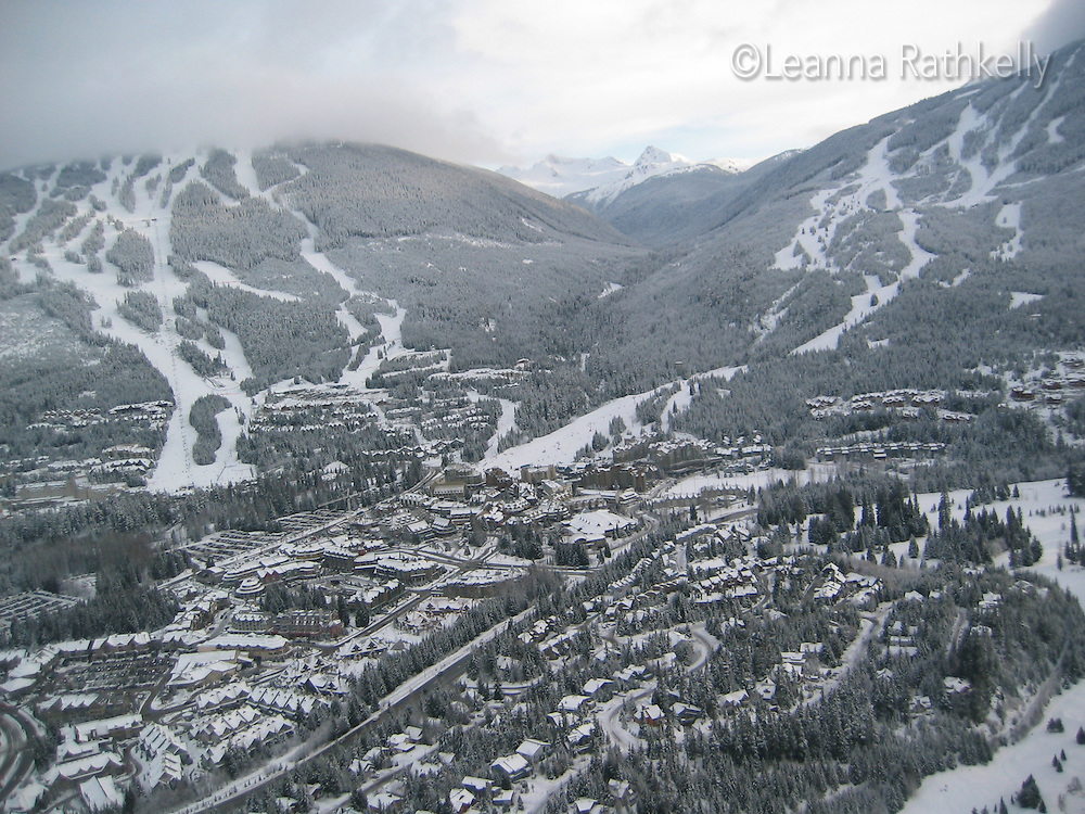 Whistler and Blackcomb mountains as seen from a helicopter, winter 2003