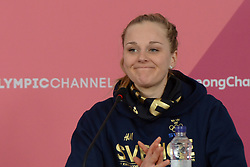 February 25, 2018 - Pyeongchang, South Korea - STINA NILLSON of Sweden chats with the media following  the Ladies' 30km Mass Start Classic cross-country ski racing event in the PyeongChang Olympic Games. (Credit Image: © Christopher Levy via ZUMA Wire)