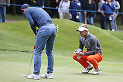 Jamie Redknapp gets some advice from English golf professional Luke Donald  during the BMW PGA Championship Celebrity Pro-Am Day at the Wentworth Club, Virginia Water, United Kingdom on 25 May 2016. Photo by Simon Davies.
