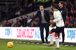 Derby County manager Frank Lampard gestures on the touchline as Ashley Cole plays a pass during the Sky Bet Championship match at Pride Park, Derby.