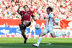 24.04.2011, easy Credit Stadion, Nuernberg, GER, 1.FBL, 1. FC Nuernberg / Nürnberg vs 1. FSV Mainz 05, im Bild:.Philipp Wollscheid (Nuernberg #38) gg Christian Fuchs (Mainz #22).EXPA Pictures © 2011, PhotoCredit: EXPA/ nph/  Will       ****** out of GER / SWE / CRO  / BEL ******