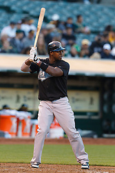June 29, 2011; Oakland, CA, USA; Florida Marlins shortstop Hanley Ramirez (2) at bat against the Oakland Athletics during the fourth inning at the O.co Coliseum.  Florida defeated Oakland 3-0.