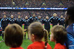 Scotland players line up for the anthems before the first half of the match - Photo mandatory by-line: Rogan Thomson/JMP - Tel: Mobile: 07966 386802 02/02/2013 - SPORT - RUGBY UNION - Twickenham Stadium - London. England v Scotland - 2013 RBS Six Nations Championship. The winner of this fixture is awarded the Calcutta Cup.