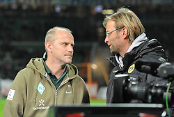 14.10.2011, Weserstadion, Bremen, GER, 1.FBL, Werder Bremen vs Borussia Dortmund, im Bild Thomas Schaaf (Trainer Werder Bremen), Jürgen Klopp (Trainer Borussia Dortmund)..// during the match Werder Bremen vs Borussia Dortmund on 2011/10/14, Weserstadion, Bremen, Germany..EXPA Pictures © 2011, PhotoCredit: EXPA/ nph/  Frisch       ****** out of GER / CRO  / BEL ******