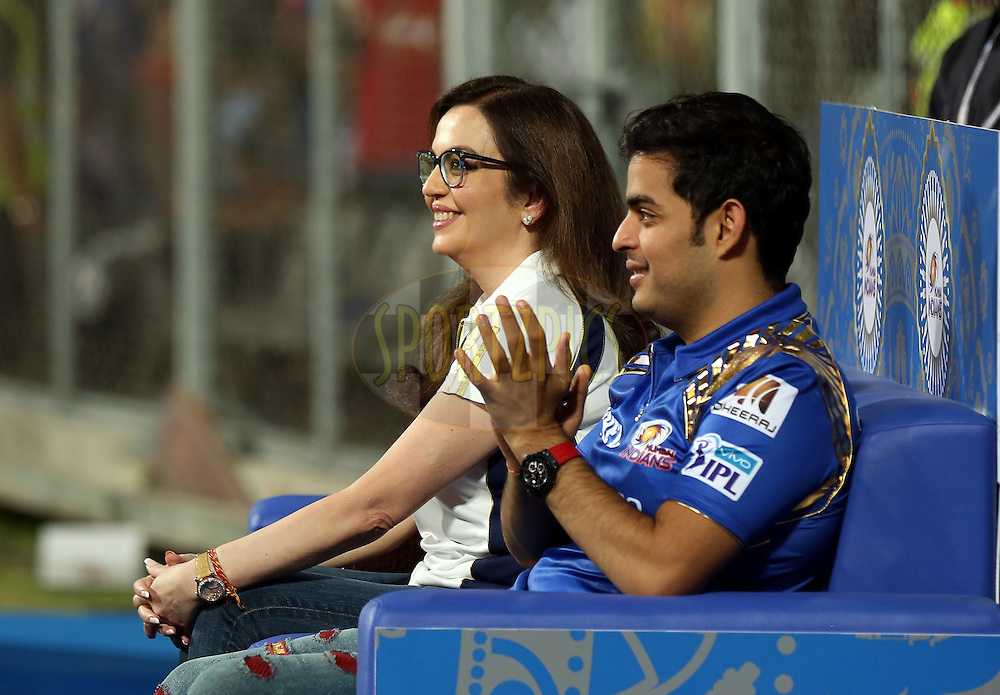 Nita Ambani owner of Mumbai Indians and Akash Ambani son of Nita ambani  during match 1 of the Vivo Indian Premier League ( IPL ) 2016 between the Mumbai Indians and the Rising Pune Supergiants held at the Wankhede Stadium in Mumbai on the 9th April 2016<br /> <br /> Photo by Sandeep Shetty/ IPL/ SPORTZPICS