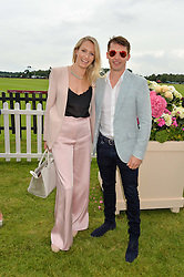 JAMES BLUNT and his wife SOFIA at the Cartier Queen's Cup Final 2016 held at Guards Polo Club, Smiths Lawn, Windsor Great Park, Egham, Surry on 11th June 2016.