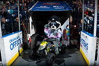 KELOWNA, CANADA - MARCH 31: Kelowna Rockets' mascot Rocky Racoon enters the ice against the Kamloops Blazers  on March 31, 2017 at Prospera Place in Kelowna, British Columbia, Canada.  (Photo by Marissa Baecker/Shoot the Breeze)  *** Local Caption ***