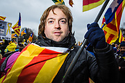 1 Brussels Belgium December 7 2017 thenth of thousands of Catalanes gathered in near the EU headquarters in the Parc Cinquantenaire for a demonstration,they sing Catalan songs for their independence and  'Puigdemont, nex president!'