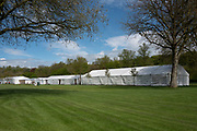 Henley on Thames. United Kingdom.   2018 Henley Royal Regatta, Henley Reach. <br />   <br /> Course Construction: General View, of the Tents in the Stewards Enclosure<br /> <br /> Wednesday  25/04/2018<br /> <br /> [Mandatory Credit: Peter SPURRIER:Intersport Images]<br /> <br /> Leica Camera AG  LEICA M (Typ 262)  f6.8  1/750sec  mm  25.6MB