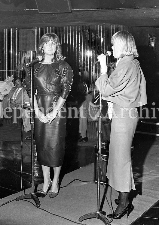 "Olivia Tracy ""Miss Ireland"" at a farewell party in her honour in Rumours Night Club to wish her well as she leaves to repersent Ireland in the Miss World Contest in Albert Hall London, circa October 1984 (Part of the Independent Newspapers Ireland/NLI Collection)."