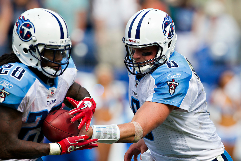 NASHVILLE, TN - SEPTEMBER 18:   Matt Hasselbeck #8 hands off the ball to Chris Johnson #28 of the Tennessee Titans during a game against the Baltimore Ravens at LP Field on September 18, 2011 in Nashville, Tennessee.  The Titans defeated the Ravens 26 to 13.  (Photo by Wesley Hitt/Getty Images) *** Local Caption *** Matt Hasselbeck; Chris Johnson