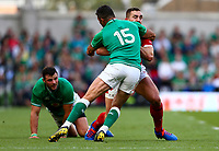 Rugby Union - 2019 pre-Rugby World Cup warm-up (Guinness Summer Series) - Ireland vs. Wales<br /> <br /> George North (Wales) is tackled by Rob Kearney (Ireland) at The Aviva Stadium.<br /> <br /> COLORSPORT/KEN SUTTON
