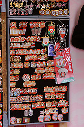 LIVERPOOL, ENGLAND - Saturday, January 26, 2008: Football club pin badges on sale from a street trader outside Anfield. (Photo by David Rawcliffe/Propaganda)