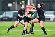 Ireland women's Chodhna Moloney is tackled by Wales women's Natalia John<br /> <br /> Photographer Craig Thomas/Replay Images<br /> <br /> International Friendly - Wales women v Ireland women - Sunday 21th January 2018 - CCB Centre for Sporting Excellence - Ystrad Mynach<br /> <br /> World Copyright © Replay Images . All rights reserved. info@replayimages.co.uk - http://replayimages.co.uk