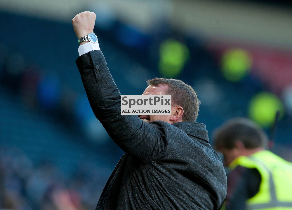 Celtic Manager Brendan Rodgers celebrates at full time in the match between Rangers v Celtic, Betfred Cup semi-final, Hampden Park, Sunday 23 October 2016, (c) Angie Isac | SportPix.org.uk