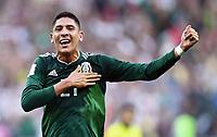Schlussjubel Edson Alvarez (Mexiko)<br /> Moskau, 17.06.2018, FIFA Fussball WM 2018 in Russland, Vorrunde, Deutschland - Mexiko 0:1<br /> Tysland - Mexico<br /> Norway only