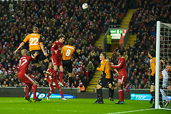 LIVERPOOL, ENGLAND - Wednesday, December 15, 2010: Liverpool's Danny Wilson sees his header go over the FC Utrecht cross-bar during the UEFA Europa League Group K match at Anfield. (Photo by: David Rawcliffe/Propaganda)