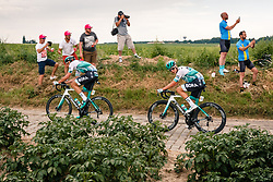Lukas Postlberger (AUT) of BORA - hansgrohe (GER,WT,Specialized) on the cobblestone sector at Thiméon during stage 1 from Bruxelles to Brussel of the 106th Tour de France, 6 July 2019. Photo by Pim Nijland / PelotonPhotos.com | All photos usage must carry mandatory copyright credit (Peloton Photos | Pim Nijland)