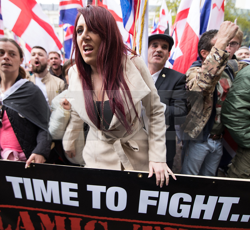 © Licensed to London News Pictures . 01/04/2017 . London , UK . JAYDA FRANSEN of Britain First outside Charing Cross Station . The EDL and Britain First both hold demonstrations in London , opposed by anti-fascist groups , including Unite Against Fascism . Photo credit : Joel Goodman/LNP