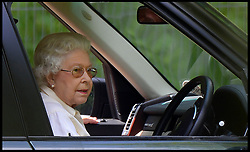HM The Queen watches the carriage driving  from her range rover at Windsor Horse Show. Windsor, United Kingdom. Saturday, 17th May 2014. Picture by Andrew Parsons / i-Images